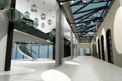 Opróżnia szerokiego pokój z geometrycznymi ścianami, wewnętrzny sho Obraz Royalty Free
