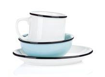 Opróżnia talerza, pucharu i filiżanki czystych, Obrazy Stock