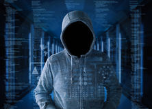 Opróżnia twarz hackera w serweru pokoju zdjęcia royalty free