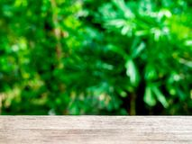 Opróżnia wierzchołek drewniany stół na zielonym lasowym tle obrazy royalty free