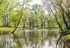 Opróżnia parka przegapia staw lub jezioro zdjęcie stock