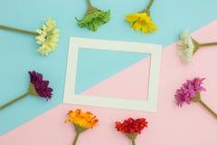 Opróżnia ramowego i kwiatów mieszkanie nieatutowego Fotografia Royalty Free
