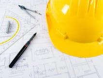 opracowanie projektów architekta budynku. Zdjęcie Stock