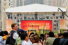 Oprah kickoff crowds Stock Images