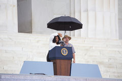 Oprah Winfrey. Waves as she speaks during the Let Freedom Ring Commemoration and Call to Action to commemorate the 50th anniversary of the March on Washington Stock Photo