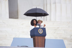 Oprah Winfrey. Waves as she speaks during the Let Freedom Ring Commemoration and Call to Action to commemorate the 50th anniversary of the March on Washington Royalty Free Stock Photography