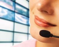 Opérateur de ligne directe avec l'écouteur Image stock