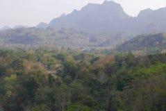 Oprima pela floresta e pela montanha imagens de stock