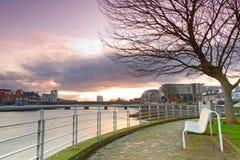 Opróżnia ławkę przy Shannon rzeką Fotografia Stock