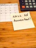 Oproepen een accountant, Post-itherinnering, exemplaarruimte Stock Afbeeldingen