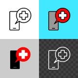 Oproepen het artsensymbool Smartphone-silhouet met medische dwars het spreken bel royalty-vrije stock foto