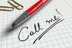 Oproepen me! Stock Foto