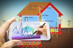 Oprogramowanie app dla mądrze telefonu dla monitorować promieniotwórczego benzynowego rado Obrazy Royalty Free