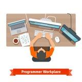 Oprogramowanie programisty pisać na maszynie debugging lub kod Zdjęcia Royalty Free