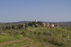 Oprtali in Istria. Oprtalj - idyllic small town on a hill in central Istria stock images