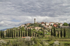 Oprtali in Istria. Oprtalj - idyllic small town on a hill in central Istria royalty free stock photography