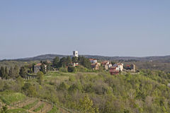 Oprtali in Istria. Oprtalj - idyllic small town on a hill in central Istria royalty free stock images