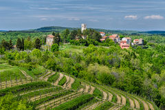 Oprtalj - idyllische Kleinstadt auf einem Hügel in zentralem Istria Lizenzfreies Stockbild