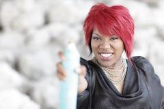 opryskiwania spraypaint kobieta obrazy royalty free