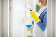 Opryskiwanie na okno z cleanser zdjęcie royalty free