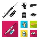 Opryskuje z insuliną, trzustka, glucometer, ręka cukrzyk Diabet ustalone inkasowe ikony w czarnym, mieszkanie stylowy wektor royalty ilustracja