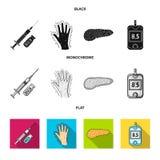 Opryskuje z insuliną, trzustka, glucometer, ręka cukrzyk Diabet ustalone inkasowe ikony w czarnym, płaski, monochromu styl ilustracji