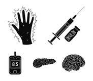 Opryskuje z insuliną, trzustka, glucometer, ręka cukrzyk Diabet ustalone inkasowe ikony w czerni projektują wektorowego symbol ilustracja wektor