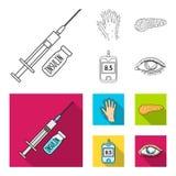Opryskuje z insuliną, trzustka, glucometer, ręka cukrzyk Diabet ustalone inkasowe ikony w konturze, mieszkanie stylowy wektor royalty ilustracja