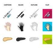 Opryskuje z insuliną, trzustka, glucometer, ręka cukrzyk Diabet ustalone inkasowe ikony w kreskówce, czerń, kontur, mieszkanie ilustracja wektor