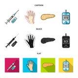 Opryskuje z insuliną, trzustka, glucometer, ręka cukrzyk Diabet ustalone inkasowe ikony w kreskówce, czerń, mieszkanie styl ilustracja wektor