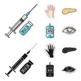 Opryskuje z insuliną, trzustka, glucometer, ręka cukrzyk Diabet ustalone inkasowe ikony w kreskówce, czerń stylowy wektor ilustracji