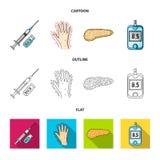 Opryskuje z insuliną, trzustka, glucometer, ręka cukrzyk Diabet ustalone inkasowe ikony w kreskówce, kontur, mieszkanie styl ilustracja wektor