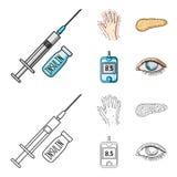 Opryskuje z insuliną, trzustka, glucometer, ręka cukrzyk Diabet ustalone inkasowe ikony w kreskówce, konturu stylowy wektor ilustracja wektor