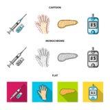 Opryskuje z insuliną, trzustka, glucometer, ręka cukrzyk Diabet ustalone inkasowe ikony w kreskówce, mieszkanie, monochromu styl ilustracji