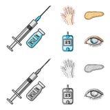 Opryskuje z insuliną, trzustka, glucometer, ręka cukrzyk Diabet ustalone inkasowe ikony w kreskówce, monochromu styl ilustracji