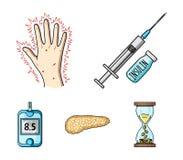 Opryskuje z insuliną, trzustka, glucometer, ręka cukrzyk Diabet ustalone inkasowe ikony w kreskówce projektują wektorowego symbol ilustracja wektor
