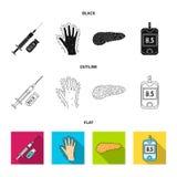 Opryskuje z insuliną, trzustka, glucometer, ręka cukrzyk Diabet ustalone inkasowe ikony w kreskówce projektują wektorowego symbol ilustracji