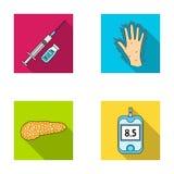 Opryskuje z insuliną, trzustka, glucometer, ręka cukrzyk Diabet ustalone inkasowe ikony w mieszkanie stylu symbolu wektorowym zap royalty ilustracja