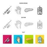 Opryskuje z insuliną, trzustka, glucometer, ręka cukrzyk Diabet ustalone inkasowe ikony w mieszkaniu, kontur, monochromu styl royalty ilustracja