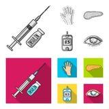 Opryskuje z insuliną, trzustka, glucometer, ręka cukrzyk Diabet ustalone inkasowe ikony w monochromu, mieszkanie stylowy wektor royalty ilustracja