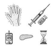 Opryskuje z insuliną, trzustka, glucometer, ręka cukrzyk Diabet ustalone inkasowe ikony w monochromu projektują wektorowego symbo ilustracja wektor