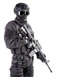 Полицейский СВАТ ops спецификаций Стоковая Фотография