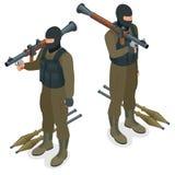 Полицейские СВАТ ops спецификаций в черной форме Солдат, офицер, снайпер, блок спецоперации, СВАТ плоское 3d равновеликое Стоковое фото RF