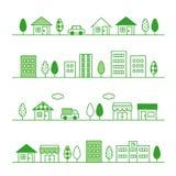 Opslag en huizen op een straat vector illustratie