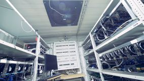 Opslag met mijnbouw van de de grafiekkaart van GPU de video Industrieel mijnbouwlandbouwbedrijf voor bitcoin en cryptocurrencygel stock videobeelden
