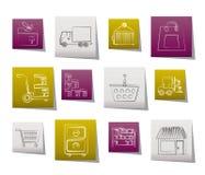 Opslag, vervoer, lading en verschepende pictogrammen Stock Afbeeldingen