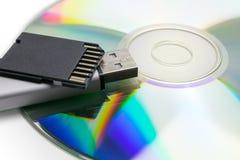 Opslagmedia - Gegevensbescherming - USB, BR en DVD Royalty-vrije Stock Foto