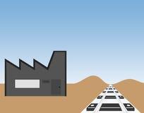 Opslagpakhuis en treinspoor stock afbeelding