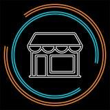 Opslagpictogram - het winkelen pictogram die - storefront bouwen stock illustratie