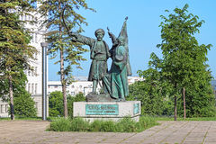 Opstand in Takovo-Monument in Belgrado, Servië Stock Afbeelding